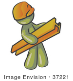 #37221 Clip Art Graphic Of An Olive Green Guy Character Carrying A Beam