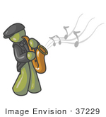 #37229 Clip Art Graphic Of An Olive Green Guy Character Playing Jazz Music With A Sax