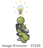 #37235 Clip Art Graphic Of An Olive Green Guy Character Jotting Ideas Down In A Book
