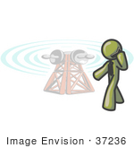 #37236 Clip Art Graphic Of An Olive Green Guy Character Talking On A Phone By A Tower