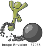 #37238 Clip Art Graphic Of An Olive Green Guy Character Breaking Free From A Ball And Chain