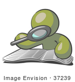 #37239 Clip Art Graphic of an Olive Green Guy Character Reading With a Magnifying Glass by Jester Arts