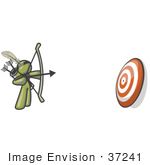 #37241 Clip Art Graphic Of An Olive Green Guy Character Shooting Arrows