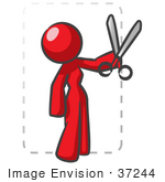 #37244 Clip Art Graphic Of A Red Lady Character Cutting Coupons