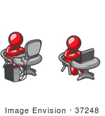 #37248 Clip Art Graphic Of Red Guy Characters Using Laptop And Desktop Computers