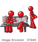 #37249 Clip Art Graphic Of Red Guy Characters Waiting At A Bus Stop