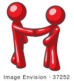 #37252 Clip Art Graphic Of Red Guy Characters Shaking Hands