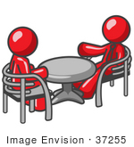 #37255 Clip Art Graphic Of Red Guy Characters Sitting At A Table