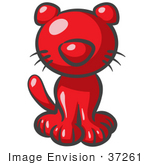 #37261 Clip Art Graphic of a Red Kitty Cat by Jester Arts