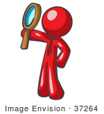 #37264 Clip Art Graphic Of A Red Guy Character Holding Up A Magnifying Glass