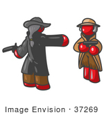 #37269 Clip Art Graphic Of Red Guy Characters Dueling