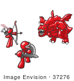 #37276 Clip Art Graphic Of Red Guy Characters Fighting A Dragon