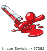 #37282 Clip Art Graphic Of A Red Guy Character Spilling Out Of A Test Tube