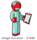 #37283 Clip Art Graphic Of A Red Guy Character Surgeon In Scrubs
