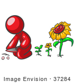 #37284 Clip Art Graphic Of A Red Guy Character Planting Sunflowers