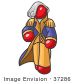 #37286 Clip Art Graphic Of A Red Guy Character As George Washington