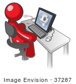 #37287 Clip Art Graphic Of A Red Guy Character Using A Computer