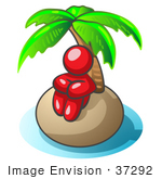 #37292 Clip Art Graphic Of A Red Guy Character On An Island