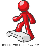 #37298 Clip Art Graphic Of A Red Guy Character Doing Steps At The Gym