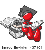 #37304 Clip Art Graphic of a Red Guy Character Graduate Reading Books by Jester Arts