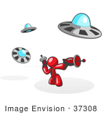 #37308 Clip Art Graphic Of A Red Guy Character Fighting Ufos