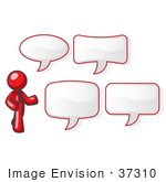 #37310 Clip Art Graphic Of A Red Guy Character With Text Bubbles