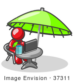 #37311 Clip Art Graphic Of A Red Guy Character Using A Laptop Under An Umbrella