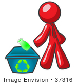 #37316 Clip Art Graphic Of A Red Guy Character Recycling
