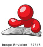 #37318 Clip Art Graphic of a Red Guy Character Reading a Book by Jester Arts