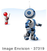 #37319 Clip Art Graphic Of A Red Guy Character Controlling A Robot