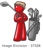 #37326 Clip Art Graphic Of A Red Guy Character Playing Golf