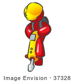 #37328 Clip Art Graphic Of A Red Guy Character Operating A Jack Hammer