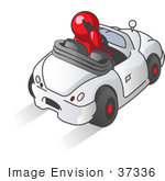 #37336 Clip Art Graphic Of A Red Guy Character Talking On A Cell Phone And Driving