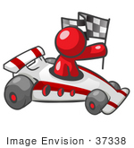 #37338 Clip Art Graphic Of A Red Guy Character Driving A Race Car