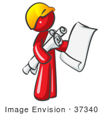 #37340 Clip Art Graphic Of A Red Guy Character With Blueprints