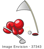 #37343 Clip Art Graphic Of A Red Guy Character Trying To Blow A Golf Ball Into The Hole
