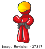 #37347 Clip Art Graphic Of A Red Guy Character Wearing A Tool Belt And Hard Hat