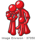 #37350 Clip Art Graphic Of A Red Guy Character Family With Children