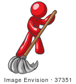 #37351 Clip Art Graphic Of A Red Guy Character Mopping