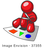 #37355 Clip Art Graphic Of A Red Guy Character Cutting Shapes