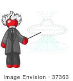 #37363 Clip Art Graphic Of A Red Guy Character As Einstein Pointing To A Ufo