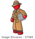 #37365 Clip Art Graphic Of A Red Guy Character Investigator With A Box