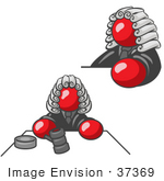 #37369 Clip Art Graphic Of A Red Guy Character Judge
