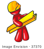 #37370 Clip Art Graphic of a Red Guy Character Carrying a Girder by Jester Arts