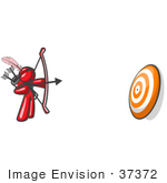 #37372 Clip Art Graphic Of A Red Guy Character Shooting Arrows