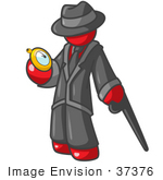 #37376 Clip Art Graphic Of A Red Guy Character Looking At A Pocket Watch