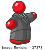 #37378 Clip Art Graphic Of A Fat Red Guy Character Pointing