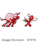 #37379 Clip Art Graphic Of A Red Guy Character Taming A Bull