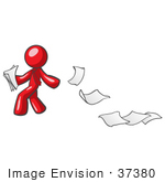 #37380 Clip Art Graphic Of A Red Guy Character Dropping Papers