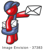 #37383 Clip Art Graphic of a Red Guy Character Delivering Mail by Jester Arts